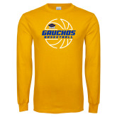 Gold Long Sleeve T Shirt-Gauchos Basketball Lined Ball