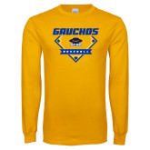 Gold Long Sleeve T Shirt-Gauchos Baseball Diamond