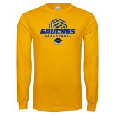Gold Long Sleeve T Shirt-Gauchos Volleyball Half Ball