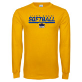 Gold Long Sleeve T Shirt-Softball Stencil