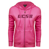 ENZA Ladies Fuchsia Fleece Full Zip Hoodie-UCSB Hot Pink Glitter