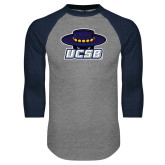 Grey/Navy Raglan Baseball T Shirt-Primary