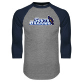 Grey/Navy Raglan Baseball T Shirt-Santa Barbara with Hat