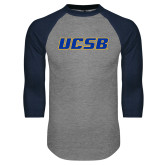 Grey/Navy Raglan Baseball T Shirt-UCSB