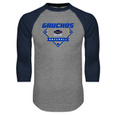 Grey/Navy Raglan Baseball T Shirt-Gauchos Baseball Diamond