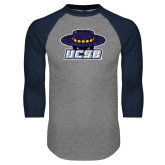 Grey/Navy Raglan Baseball T Shirt-Primary Distressed
