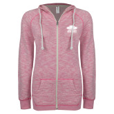 ENZA Ladies Hot Pink Marled Full Zip Hoodie-Primary