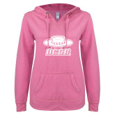 ENZA Ladies Hot Pink V Notch Raw Edge Fleece Hoodie-Primary
