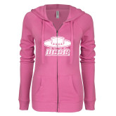 ENZA Ladies Hot Pink Light Weight Fleece Full Zip Hoodie-Primary