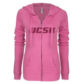 ENZA Ladies Hot Pink Light Weight Fleece Full Zip Hoodie-UCSB Hot Pink Glitter