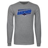 Grey Long Sleeve T Shirt-Slanted Gauchos Stencil