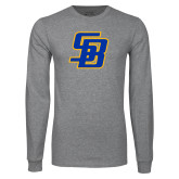 Grey Long Sleeve T Shirt-Interlocking SB