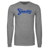 Grey Long Sleeve T Shirt-Gauchos Script
