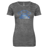 Next Level Ladies Junior Fit Dark Grey Burnout Tee-Primary Foil