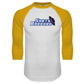 White/Gold Raglan Baseball T Shirt-Santa Barbara with Hat