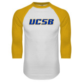 White/Gold Raglan Baseball T Shirt-UCSB