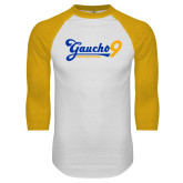 White/Gold Raglan Baseball T Shirt-Gauchos 9