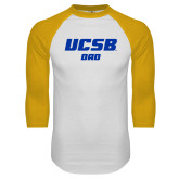 White/Gold Raglan Baseball T Shirt-Dad