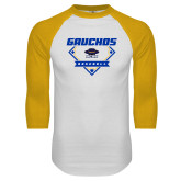 White/Gold Raglan Baseball T Shirt-Gauchos Baseball Diamond