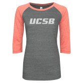ENZA Ladies Dark Heather/Coral Vintage Baseball Tee-UCSB White Soft Glitter