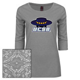 Ladies Grey Heather Lace 3/4 Sleeve Tee-Primary