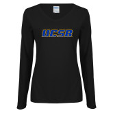 Ladies Black Long Sleeve V Neck T Shirt-UCSB
