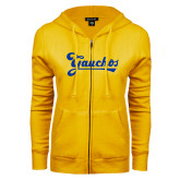 ENZA Ladies Gold Fleece Full Zip Hoodie-Gauchos Script
