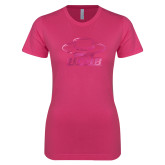 Ladies SoftStyle Junior Fitted Fuchsia Tee-Primary Foil