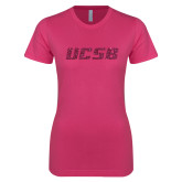 Ladies SoftStyle Junior Fitted Fuchsia Tee-UCSB Hot Pink Glitter