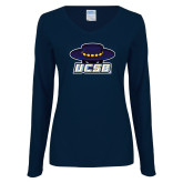 Ladies Navy Long Sleeve V Neck T Shirt-Primary