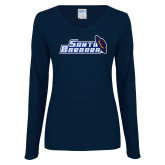 Ladies Navy Long Sleeve V Neck T Shirt-Santa Barbara with Hat