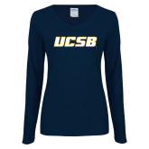 Ladies Navy Long Sleeve V Neck T Shirt-UCSB
