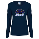 Ladies Navy Long Sleeve V Neck T Shirt-Primary, Custom Tee w/ Name and #