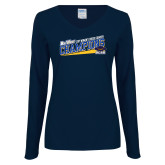Ladies Navy Long Sleeve V Neck T Shirt-2017 Womens Cross Country Champions