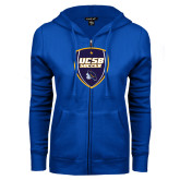 ENZA Ladies Royal Fleece Full Zip Hoodie-UCSB Soccer Shield
