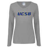 Ladies Grey Long Sleeve V Neck T Shirt-UCSB