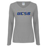 Ladies Grey Long Sleeve V Neck Tee-UCSB