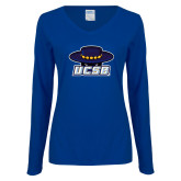 Ladies Royal Long Sleeve V Neck T Shirt-Primary