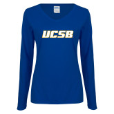 Ladies Royal Long Sleeve V Neck T Shirt-UCSB