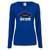 Ladies Royal Long Sleeve V Neck T Shirt-Primary, Custom Tee w/ Name and #
