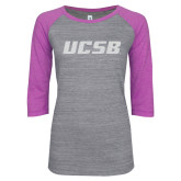 ENZA Ladies Athletic Heather/Violet Vintage Baseball Tee-UCSB White Soft Glitter