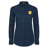 Ladies Navy Twill Button Down Long Sleeve-Interlocking SB