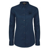 Ladies Navy Twill Button Down Long Sleeve-Primary