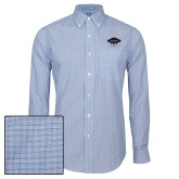 Mens Navy Plaid Pattern Long Sleeve Shirt-Primary