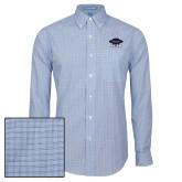 Mens Navy Plaid Pattern Long Sleeve Shirt-Primary