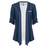 Ladies Navy Drape Front Cardigan-Primary