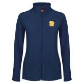 Ladies Fleece Full Zip Navy Jacket-Interlocking SB
