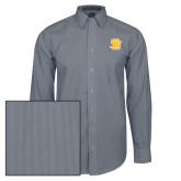 Mens Navy/White Striped Long Sleeve Shirt-Interlocking SB