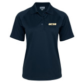 Ladies Navy Textured Saddle Shoulder Polo-UCSB