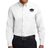White Twill Button Down Long Sleeve-Primary